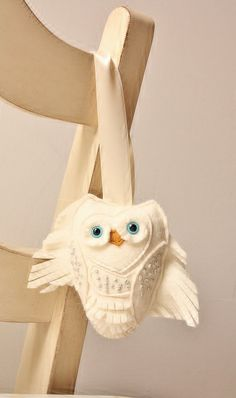 Snow Owl Wool Felt Plush Home Ornament White Home by SAumanSmith, $14.50