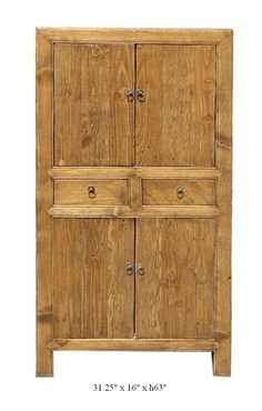 $1550 Chinese Solid Elm Wood Natural Color Armoire Cabinet - Golden Lotus Antiques