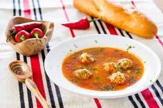 Delicious Romanian sour soup with pork meatballs