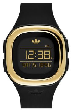 adidas Originals 'Denver' Digital Silicone Strap Watch, 42mm available at #Nordstrom