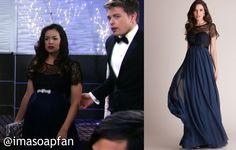 I'm a Soap Fan: Sabrina Santiago's Navy Blue Lace Overlay Maternity Gown - General Hospital, Season 53, Episode 184, 12/21/15, Teresa Castillo, #GH Fashion, Wardrobe Worn on #GeneralHospital
