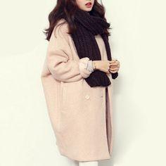 2016 겨울 패션 여성의 새로운 코트 긴 소매 중간 긴  고품질 모직 코트 느슨한 슈퍼 따뜻한 모직 코트 여성  G1814