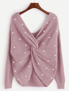 7150cb86ce Shop Plus Twist Front Beaded Detail Sweater online. SheIn offers Plus Twist  Front Beaded Detail