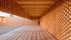 Students from Germany's University of Kaiserslautern built this latticed wood community centre for a refugee camp in Mannheim