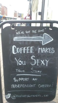 """""""Coffee board in chester"""" OUR BOARD was pinned by someone.... Whoa!"""