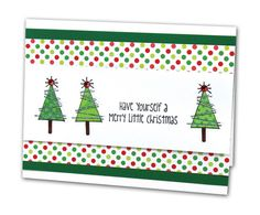 Merry Little Christmas Trees Card - click through for project instructions.