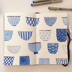 Instagram media by hee_cookingdiary - Sad Friday night sketchbook meditation #doodle #makeartthatsells #drawing #moleskine #japaneseteabowl #blue #pencildrawing #linedrawing #sakuraofamerica #micron #sketchbook #moleskine_arts