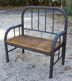 Rustic Bench made from Old, Antique Iron Bed