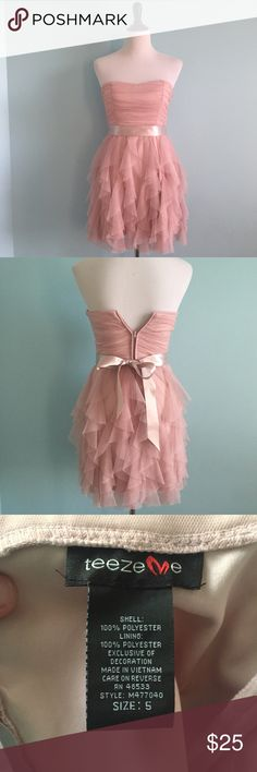Pink Formal Dress Pink formal dress with ruffle tulle on skirt. Beautiful dress for prom, homecoming, or any formal event. Size 5 with some stretch. PLEASE NOTE: there is some staining on the ribbon tie, shown in picture 4, but can be flipped over and hidden. Teeze Me Dresses