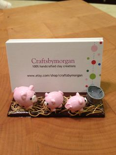 Polymer Clay Business Card Holder Stand Pigs on by craftsbymorgan, $20.00