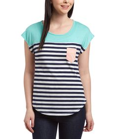 Look at this Attitude Unknown Mint & Navy Stripe Pocket Tee on #zulily today!