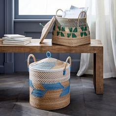 Colorful woven baske