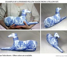 Blue Toile Greyhound Print Pillow Fabric Panel by ArtbyJaneWalker