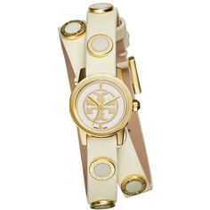 Tory Burch Reva Mini Goldtone Stainless Steel & Studded Leather Strap... ($395) ❤ liked on Polyvore