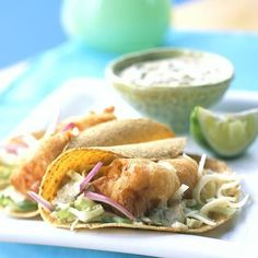 Beer-battered Fish Tacos with Baja Sauce and Mexican seasoning  http://www.myrecipes.com/m/recipe/baja-sauce  http://m.allrecipes.com/recipe/46653/taco-seasoning-i/