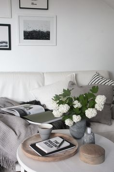 Scandinavian living room. White and grey with a touch of wood and greenery