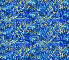blue green yellow leaf overlap pattern fabric by Henry Glass 2