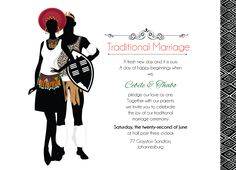 Zulu Wedding: Downloadable South African Zulu Traditional wedding invitation Card