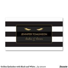 Golden Eyelashes with Black and White Stripes Customizable Business Cards for Lash Extensions and Makeup Artists