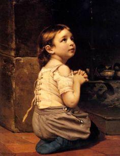 garota filha rezando orando rezar reproducao de pintura tela