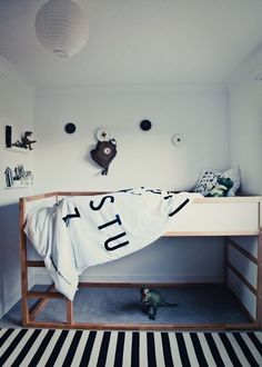 Blk/white kid's room w ikea kura bed. Kids Bed Frames, White Kids Room, Ikea Nursery, Nursery Decals, Cat Decals, Ikea Kura Bed, Deco Kids, Kids Bunk Beds, Kids Room Design