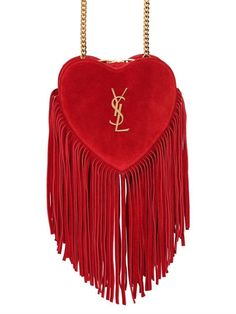 SMALL LOVE FRINGED SUEDE BAG