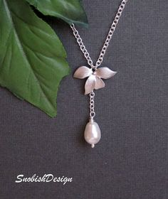 Orchid Jewelry - Orchid and Pearl Necklace - Orchid Charm - Swarovski Teardrop Pearl - Sterling Silver - Bridal Jewelry - Bridesmaids