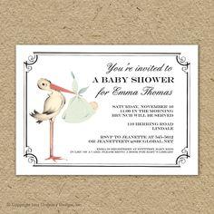 vintage stork baby shower invitation baby boy by saralukecreative, $15.00
