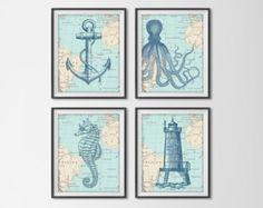 Nautical Map Sea Life Set of 4 Prints - Vintage Ocean Map Chart - Anchor, Octopus, Seahorse, Lighthouse - Beach House Bathroom Decor