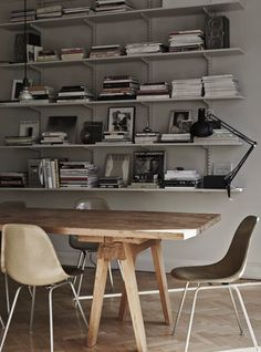 gray walls and rustic wooden table