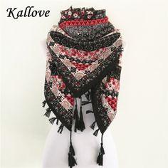 ea85df494309 Vente chaude bandana nouveau mode femme Écharpe foulards carrés Imprimé  Femmes Wraps Hiver automne dames châle
