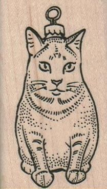 Rubber stamp Cat Christmas Ornament 1 1/2 x 2 by pinkflamingo61, $4.65