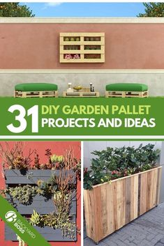 , Pallets are easy to find and versatile when it comes to DIY projects. Gardens are where pallets are repurposed the most. Here are 31 awesome ideas tha. Herb Garden Planter, Outdoor Garden Bench, Gutter Garden, Outdoor Pallet, Garden Pond, Garden Art, Vegetable Garden, Diy Garden Furniture, Diy Garden Projects