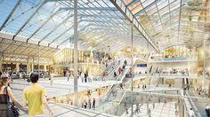 Vue d'artiste du hall rénové de la gare du Nord. France, Train Station, Louvre, Architecture, Interior, Artist, Surface Finish, Indoor, Early French