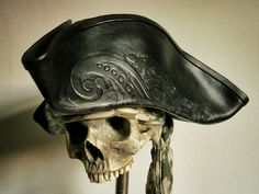 Hey, I found this really awesome Etsy listing at https://www.etsy.com/listing/165876554/black-leather-pirate-tricorn-hat-with