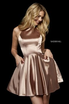 abb8649883c3 Sherri Hill 52254 silk charmeuse cocktail dress with high neck bodice and  cut out back. - Short Dresses - Sherri Hill 52254 silk charmeuse cocktail  dress ...