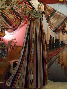 VTG 70s HIPPIE BOHO LACE SHEER INDIAN BALLOON SLV GYPSY ETHNIC IKAT CAFTAN DRESS