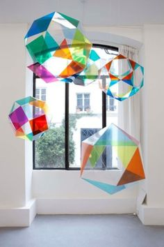 """Lionel ESTEVE ~ """"Prototype for a Chaos II"""" (2010) Polyester, motors and self-adhesive film / Polyester, film adhésif autocollant et moteurs  variable / Dimensions variables (5volumes)"""