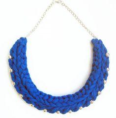 collar azul, collar trapillo, collar tela, collar trenzado, collar azul cobalto, regalo  algodón,metal punto