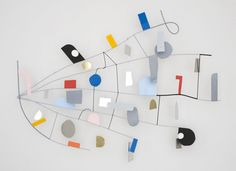 """Nathan Carter SWINDEN CALL AND RESPONSE FLIGHT ROUTING MARKERS AND NAVIGATION SIGNALS TO ALL POINTS BEARING NORTHEAST, 2011 Steel, enamel and acrylic paint, stainless steel wire, Plexiglas, found objects 64 x 87 x 11"""" / 162.6 x 221 x 27.9cm"""