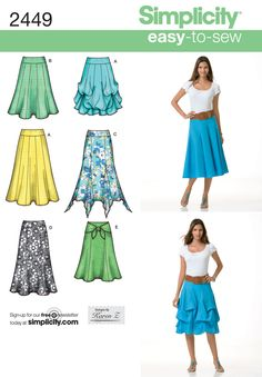 Simplicity 2449 (Misses' pull on skirt sewing patterns, each in two lengths)