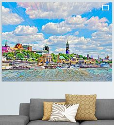 Blick über die Elbe zu den Landungsbrücken im Stadtteil Sankt Pauli in Hamburg, Deutschland Illustration, Home Decor, Pictures, Printing On Wood, Artist Canvas, Digital Art, Decoration Home, Illustrations, Interior Design