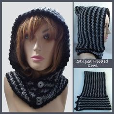 I love this crochet hood. Striped Hooded Cowl - Media - Crochet Me