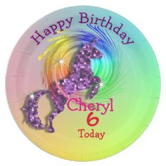 A fun magical personalized birthday party paper plate with a purple sparkle effect Unicorn jumping through a colorful rainbow, so cute and a favorite with young girls; just customize it with your birthday girl's details or text of your choice.