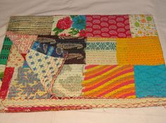 Hand Block Printed and Patchwork Kantha Quilt~Beautiful Patchwork Kantha Throw