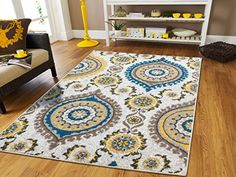 Luxury Rugs Contemporary Rugs 5x7 Grey Cream Beige Yellow Blue Modern Rugs For Living Room 5x8 Turquoise Color Washable Rugs Office Kitchen Ideal Carpet 5x8 Rug -- Check this awesome product by going to the link at the image. (This is an Amazon Affiliate link and I receive a commission for the sales)