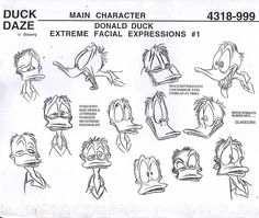 "TraditionalAnimation ‏@Traditional2D shared on Twitter... Donald Duck extreme facial expressions from the Disney afternoon show ""Quack Pack"" (Walt Disney TV animation, 1996) ★❤★"