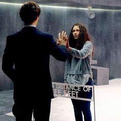 Benedict and Sian rehearsing a scene for The Final Problem. I love how Benedict is in costume but she's just in regular clothes