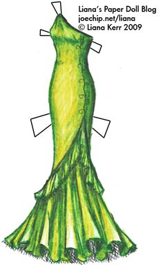 """Poison Green Mermaid-Style Prom Gown""  [Liana's Paper Doll Blog]"