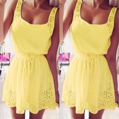 Yellow Plain Lace Hollow-out Scoop Neck Sleeveless Mini Dress